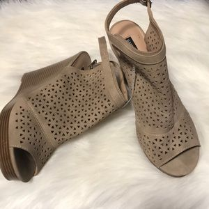 Parker and sky brown peep toe wedges